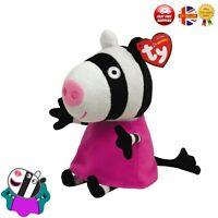 Zoe Zebra Pink Peppa Pig Action Soft Toy Figure Ty Beanie Babies Plushy Toy UK