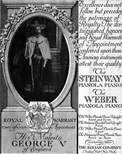 Steinway Pianola Piano George V Royal Warrant of Appointment WEBER 1913 Print Ad