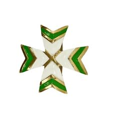 Vintage K.J.L. Kenneth Lane Green Cream Enamel Maltese Brooch Pin Signed