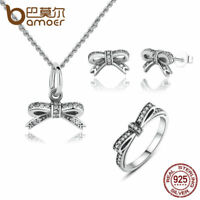 Bamoer S925 Silver Jewelry Sets & AAA CZ  Bow Necklace, Ring, Earrings For Women