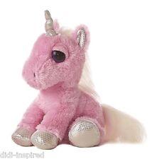 "Pink Unicorn 12"" Dreamy Eyes Horse Soft Plush Toy By Aurora"