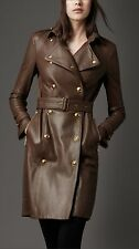 BURBERRY London Ribbed Panel Full Italian Brown Leather Trench Coat US 6 / UK 8