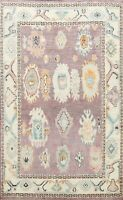Vegetable Dye Geometric Floral Hand-knotted Authentic Ushak Turkish Area Rug 6x8