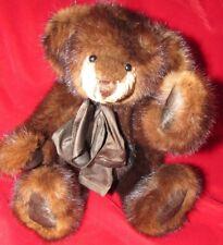"14"" REAL FUR DARK BROWN MINK SOOO SOFT ADORABLE ARTIST TEDDY BEAR BEAUTIFUL GIFT"