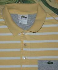 Mens LACOSTE Yellow White Striped Polo Shirt 5 S/M