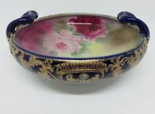 "Antique Nippon Cobalt Bowl with Roses & Gold & Enamel Jewels  ""Maple Leaf"" #52"