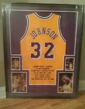 MAGIC JOHNSON LOS ANGELES LAKERS AUTOGRAPHED STAT JERSEY  CUSTOM FRAMED JSA COA.