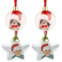 Personalised Christmas Tree Photo Baubles Set Xmas Ball Star Ornament Decoration