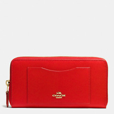 New Coach CARDINAL RED Accordion Zip Around Leather Wallet 58411 -NWT$250