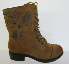 Spot On F50171 Ladies Tan Lace/Zip Up  Ankle Boots UK Size 3 x 8 (R22E)