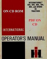International Harvester IH 484 584 684 784 884 Hydro 84 Tractor Operators Manual