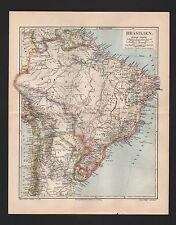 Landkarte map 1905: BRASILIEN. BOLIVIEN, PARAGUAY, URUGUAY, SURINAM