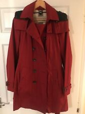 Women's BURBERRY BRIT Parade Red All Weather Hooded Trench Coat Size 14