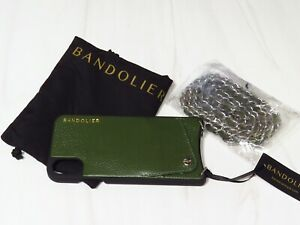 New with Tags Bandolier Green Leather iPhone X Case Cross Body Credit Card Case