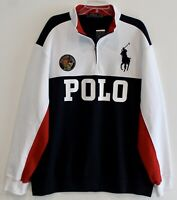 Polo Ralph Lauren Big Tall Mens 4XB Blue White Crest 1/2 Zip Sweatshirt NWT 4XB
