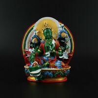 11.5CM Tibetan Buddhism Resin Hand Drawing Kwan-yin Green Tara Pingan Statue
