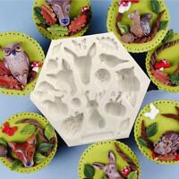 Forest Animal Owl,Deer,Rabbit, Silicone Mold Christmas Cake Decoration DIY Tool