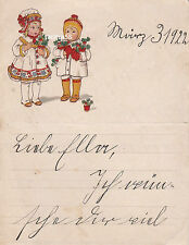 Schöner Kinderbrief 1922 Leipzig Seitz Kurrentschrift Schmuckbrief Dokument
