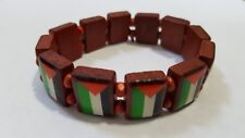 Wood Palestinian Flag Elastic Band Bracelet Wristband SUPPORT FREE PALESTINE