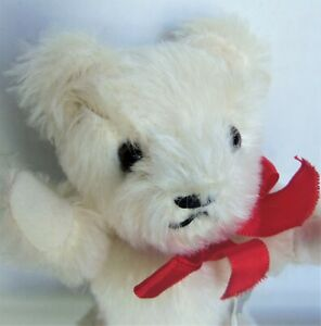"""Vintage GRISLY 7"""" White / Ivory Mohair Bear, Made in West Germany 400/15"""