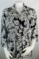 Karl Lagerfeld Womens Large Black White Floral Button Front Collared Shirt Top