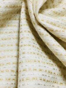 Cream Gold Embroidered Polka Dot Lines Curtain Fabric Material 137cm wide BR098