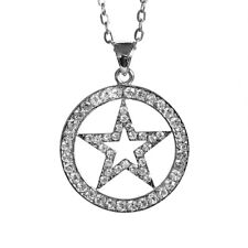 Round Star Pendant Necklace Clear Rhinestone with Oval Chain 26inch 66cm