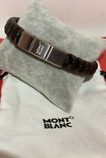 Montblanc Woven Brown & black  Leather & Stainless Bracelet