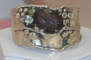 Don Marksz Modernist Sterling Silver Freeform Gemstone Wide Cuff Bracelet