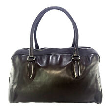 MIU MIU VINTAGE DARK BROWN LEATHER BOWLER BAG