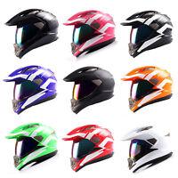 Dual Sport Motorcycle Motocross Full Face Helmet Black Blue Green Pink Red White