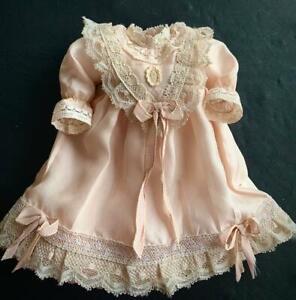 "Executive Silk Bluette Dress for 10 1/2"" Antique Doll GABRIELLA'S DOLL CLOTHING"