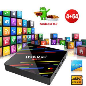 H96MAX+ 4+64G Android 9.0 Quad Core 4K Smart TV BOX DUAL WIFI BT 4.0 USB Network
