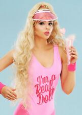 Womens Sports Barbie Style Blonde Wig and Visor