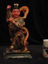 Large Nezha The Third Prince Hard Carved Wood Taoist Deity Gold Gilt mid 20c