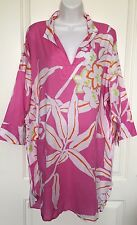 NATORI Pink Floral Print 100% Cotton 3/4 Sleeve Long Tunic Dress Size XL