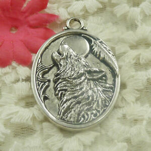 Free Ship 9 pcs Antique silver oval wolf charms pendant 46x32mm H-4807