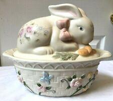 Large Pfaltzgraff Tea Rose Embossed EASTER Bunny Rabbit Casserole Basket Weave