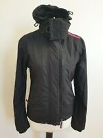 D113 WOMENS SUPERDRY THE WINDCHEATER BLACK PINK HOODED JACKET SMALL S EU 46