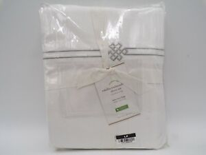 Pottery Barn Emilia Embroidered Organic Percale Sheet Set Twin XL Gray #9807N