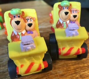 Two 1990 VTG Yogi Bear and Boo Boo Picnic Basket Vehicles Cars Happy Meal Toys