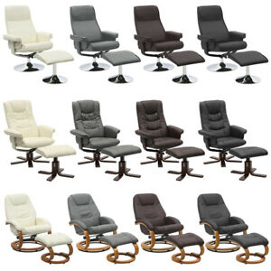 PU Leather Recliner Armchair w/ Footstool Lounge Sofa Gaming Office Swivel Chair