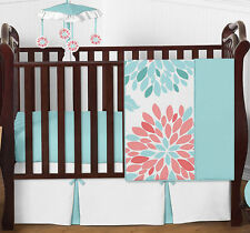 Sweet Jojo Modern Floral Baby Bedding Turquoise Coral Bumperless Girl Crib Set