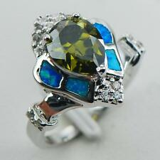 ART DECO Victorian Vintage Style Peridot With Blue Fire Opal Silver Ring Size 8