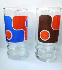 Long Retro Drink Glass  Set of 2 Orange Brown and blue 70's 80's vintage
