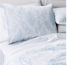 SHABBY CHIC DAMASK LIGHT BLUE GREY & WHITE TWIN 2 PIECE COMFORTER SET