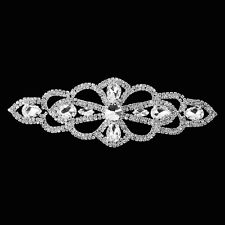Rhinestone Diamante Silver Motif Crystal Sew On Applique Bridal Dress Patch B143