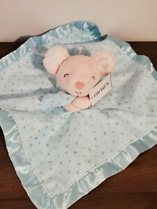 Carters Pink Mouse Lovey Aqua Blue Security Blanket Baby Satin Plush Floral NEW