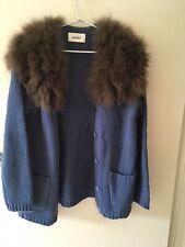 Designer Snidel Blue Wool Blend Cardigan With Real Fur - Size M