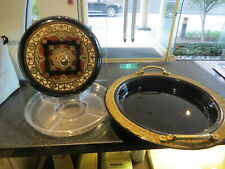 vintage LAZY SUSAN Serving Tray  SERVER REVOLVING STAND Black Lacquer JAPAN